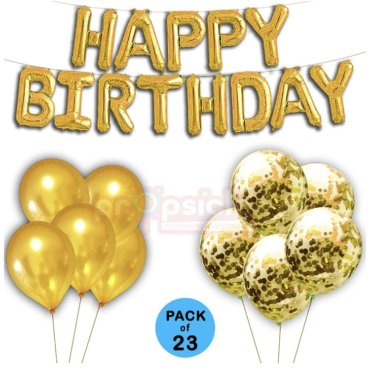 Golden Theme Happy Birthday Confetti Balloon Combo Online India Propsicle